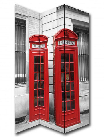 Red Telephone Box Room Divider Screen