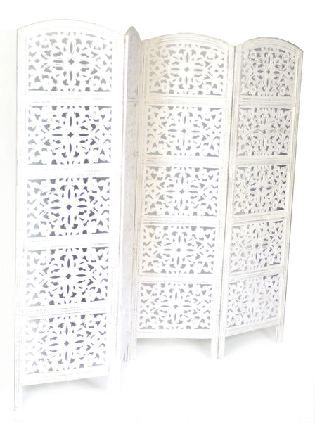 Hand Carved Flower Design Room Divider Screen - White