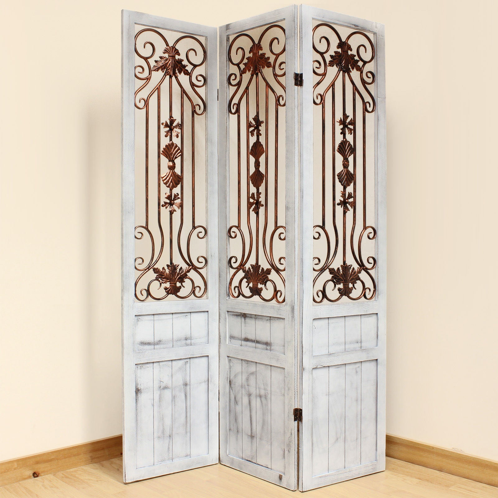 Vintage Whitewash Room Divider Screen - 3 Panel