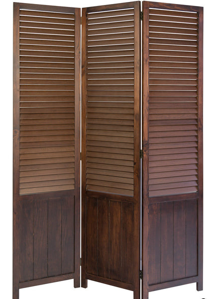 Paravent Wooden Slat Room Divider Screen- Brown - 3 Panel
