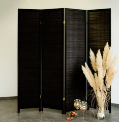 Black Wood Room Divider - 4 Panel
