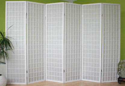 Window Shoji Room Divider Screen - White - 6 Panel