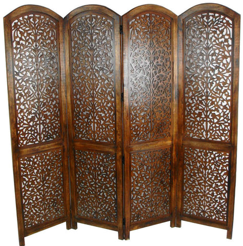 Kashmeri Jali Room Divider Screen - Light Brown