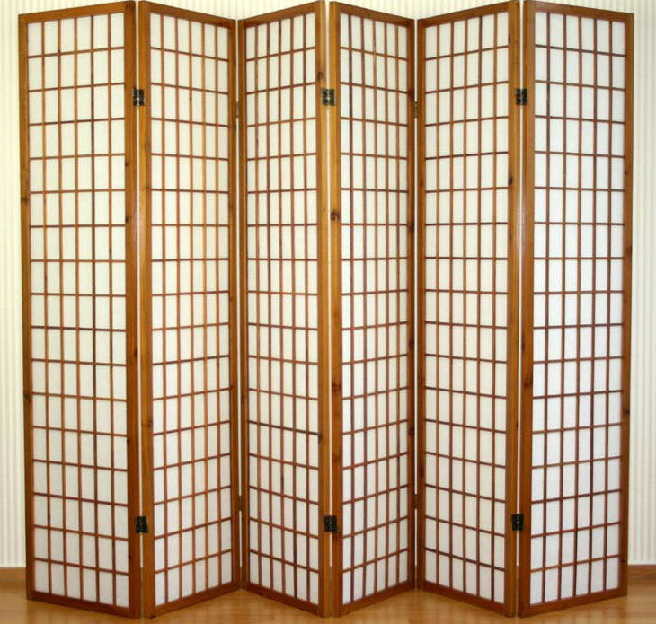 Window Shoji Room Divider - Brown - 6 Panel