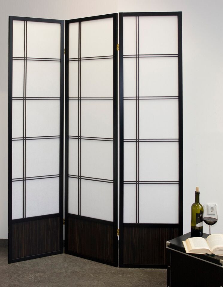 Akio Room Divider Screen - Black - 3 Panel