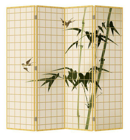 Bamboo Canvas Room Divider - 4 Panel