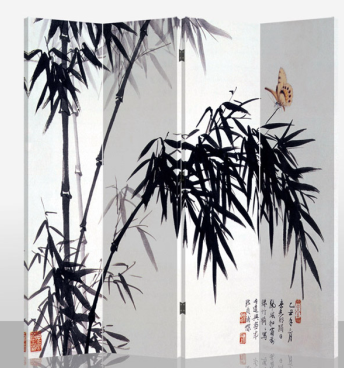 Oriental Bamboo Canvas Room Divider - 4 Panel