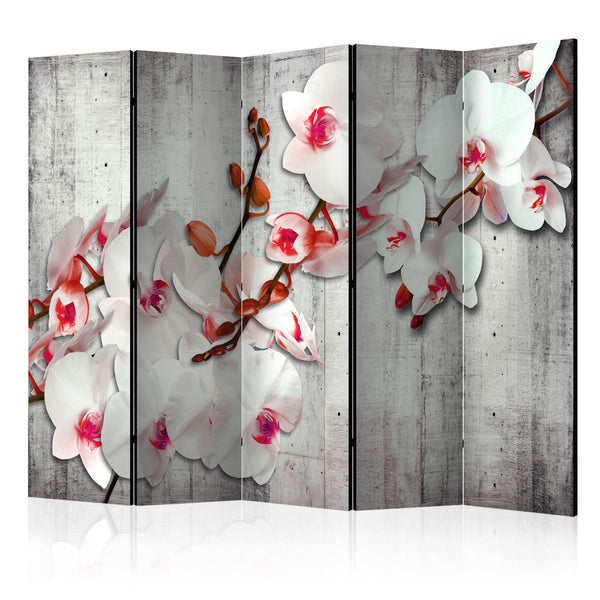 Double Sided White Flower Room Divider Screen - 5 Panel