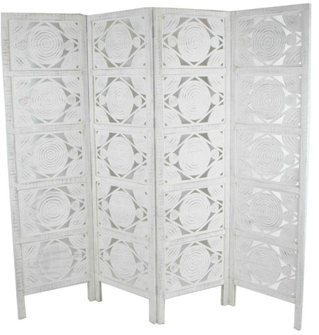 Hand Carved Indian Swirl Design Room Divider Screen - White