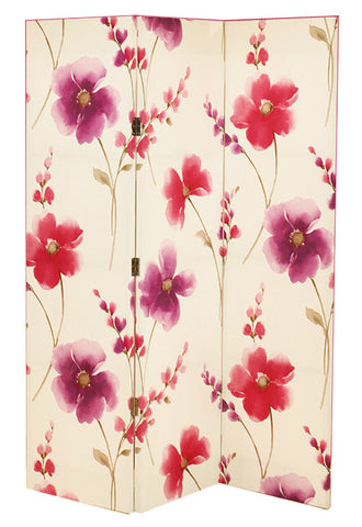Riveria Pink Floral Room Divider Screen - Double Sided with Stripe