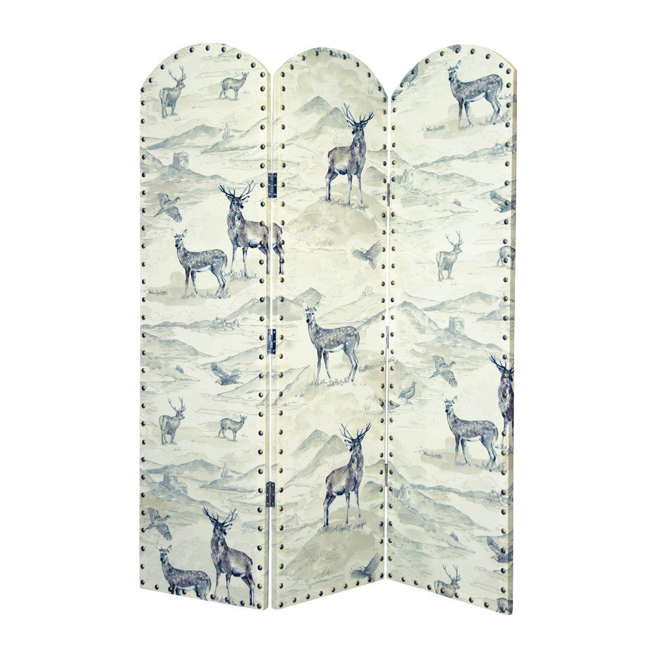 Stag Print Studded Room Divider Screen