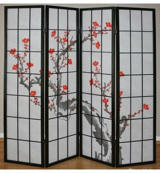 Cherry Tree Shoji Screen - 4 Panel - Black
