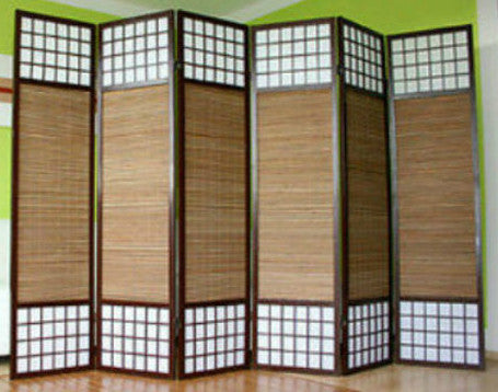 Paravent Wood Shoji Room Divider Screen - 6 Panel