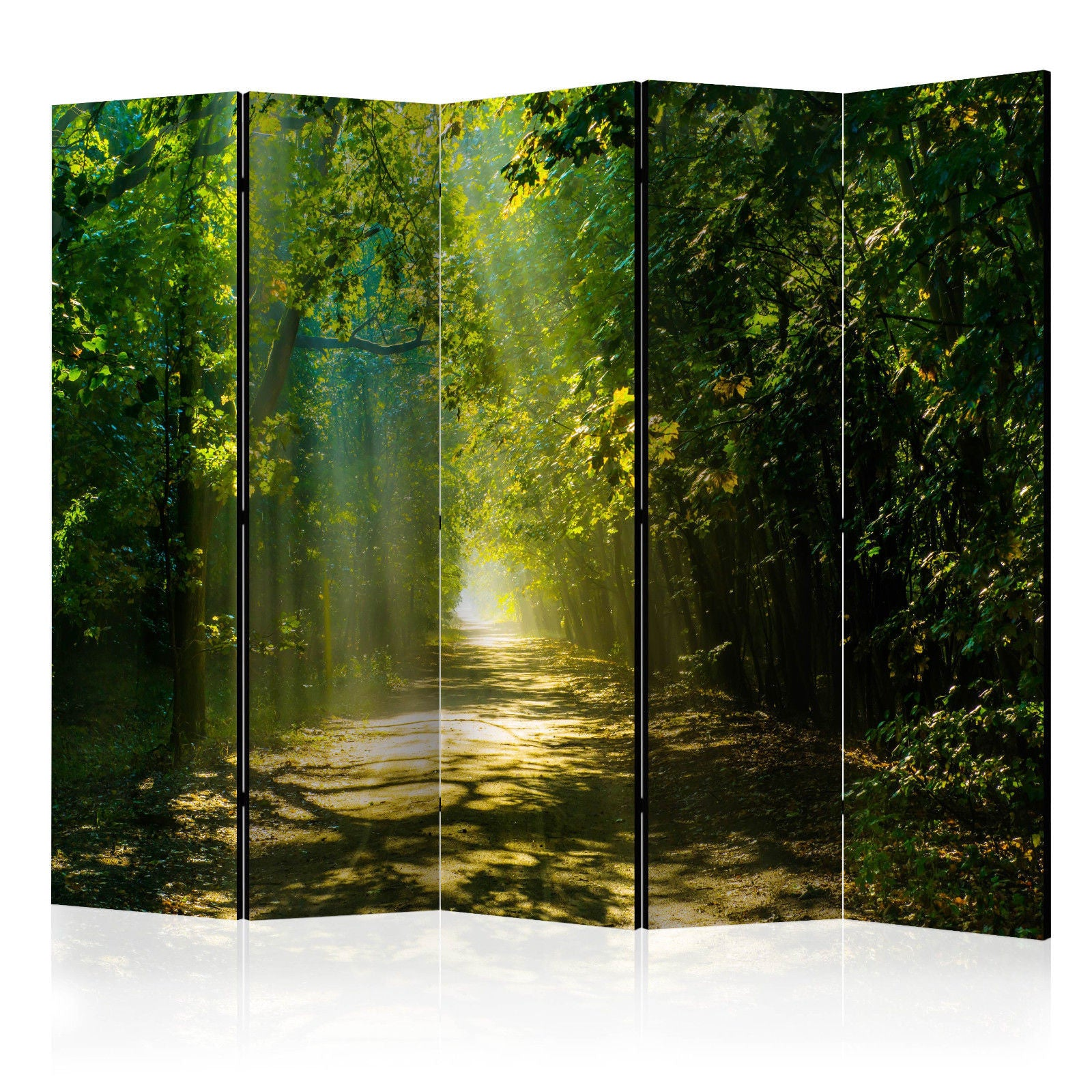 Double Sided Forest Room Divider Screen - 5 Panel