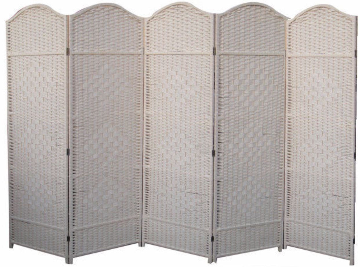 Classical Room Divider Screen - 5 Panel - Cream