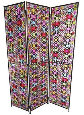 Art Deco French Flower Design Metal Room Divider Screen - 3 Panel