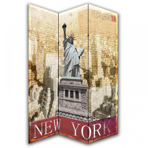 Statue Of Liberty Calligraphy Room Divider Screen