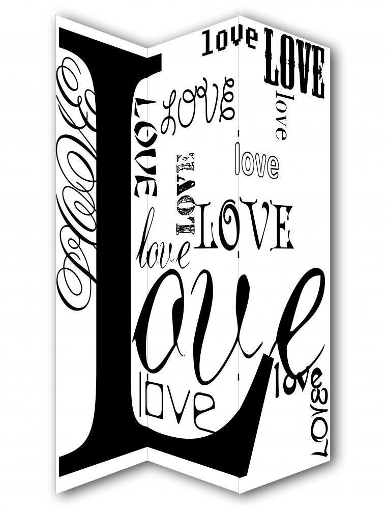 Love Black & White Room Divider Screen