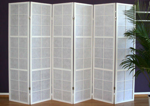 Shoji room divider window screen white 6 panel room for Window dividers