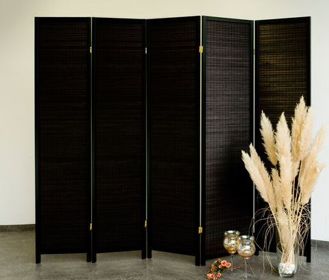 Black Wood Room Divider - 5 Panel