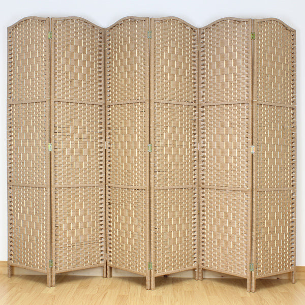 Natural Weave Wicker Room Divider - 6 Panel