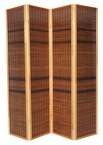 Dark Cane Striped Room Divider Screen - 4 Panel