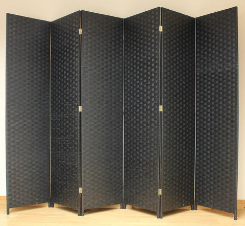 Entwine Black Colour Room Divider Screen - 6 Panel