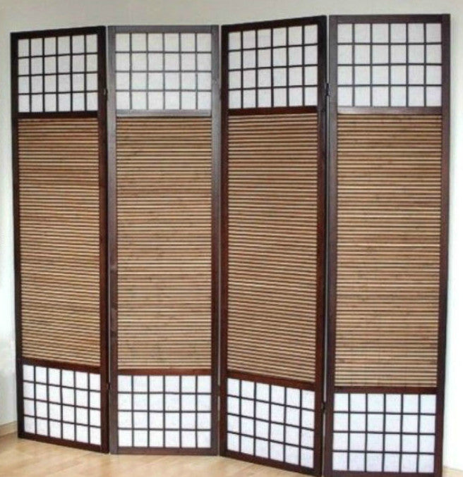 Paravent Wood Shoji Room Divider Screen - 4 Panel