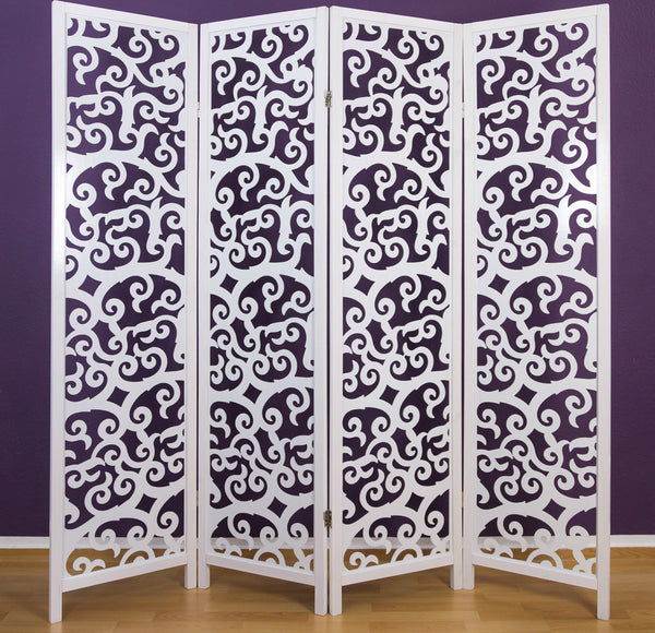 Tree Pattern Wooden Room Divider - 4 Panel
