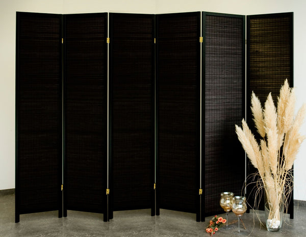 Black Wood Room Divider - 6 Panel