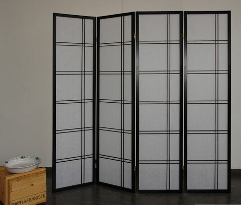 Shiro Room Divider Screen - Black - 4 Panel