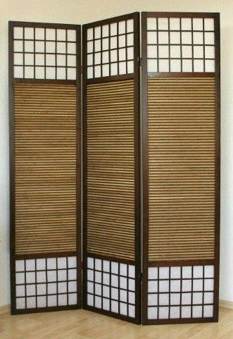 Paravent Wood Shoji Room Divider Screen - 3 Panel