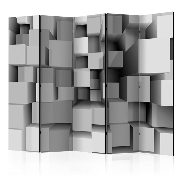 Double Sided Cubes Room Divider Screen - 5 Panel