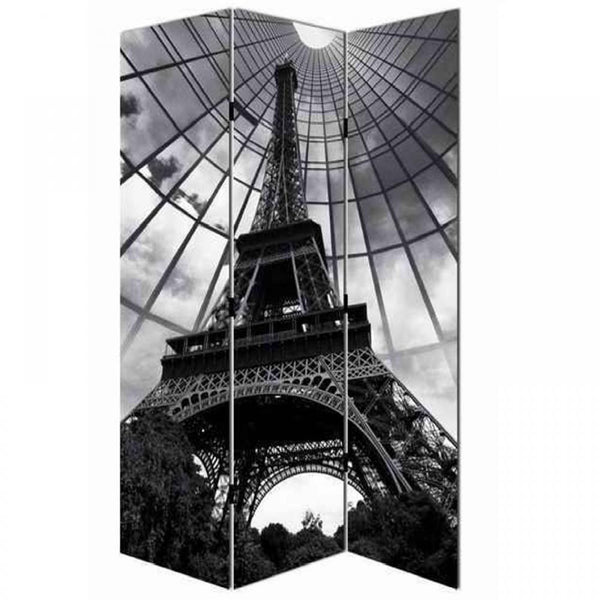 Paris Eiffel Tower Black & White Room Divider Screen