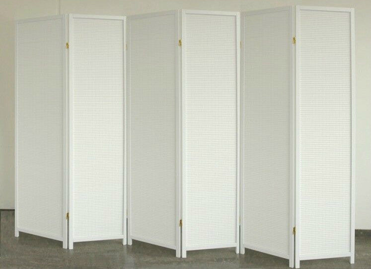 White Wood Room Divider - 6 Panel