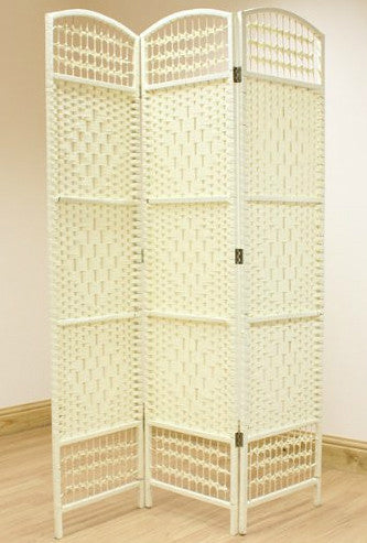 Wicker Room Divider Screen - Cream - 3 Panel