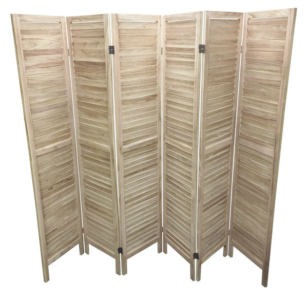 Wooden Slat Room Divider Screen - 6 Panel - Natural