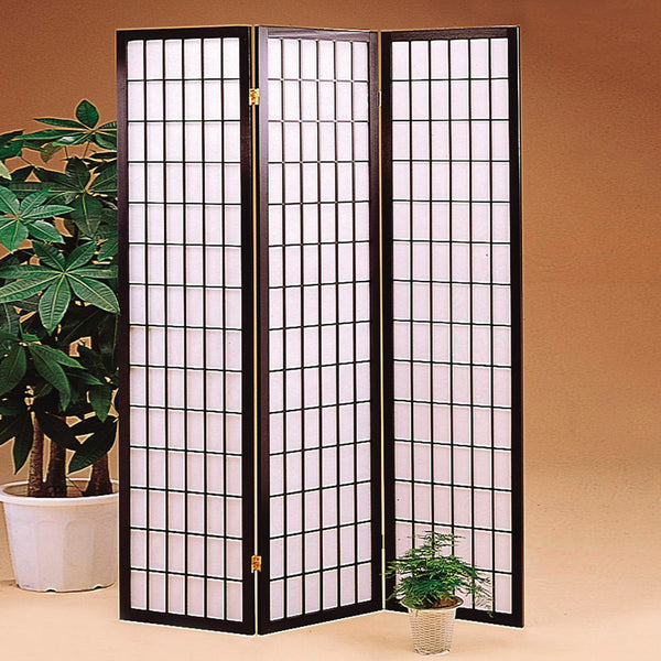 Shoji Folding Room Divider Screen - 3 Panel - Dark Brown
