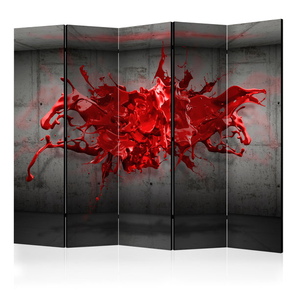 Double Sided Red Splash Room Divider Screen - 5 Panel