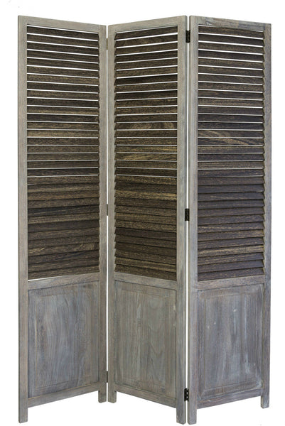 Paravent Wooden Slat Room Divider Screen- Grey - 3 Panel