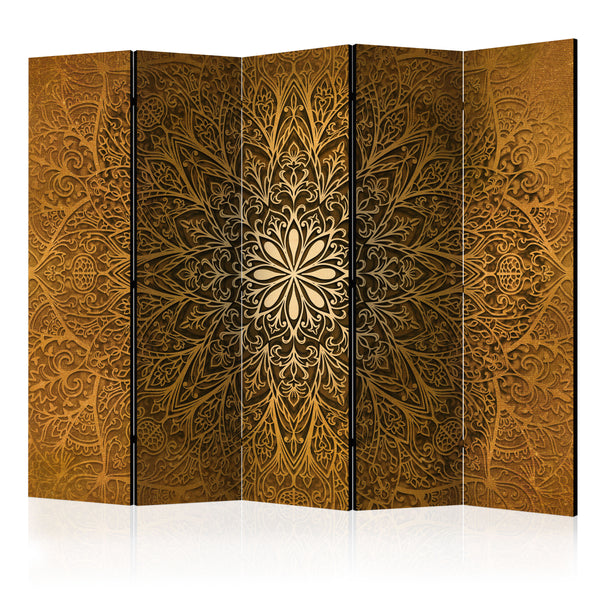 Double Sided Sun Mandala Room Divider Screen - 5 Panel