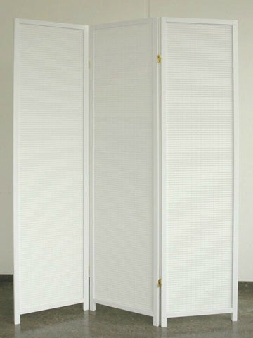 White Wood Room Divider - 3 Panel