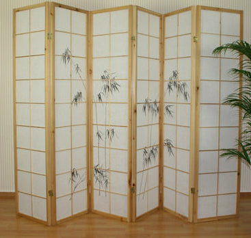 Bamboo Window Shoji Room Divider Screen - Natural - 6 Panel