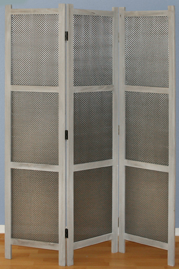 Grey Reed Room Divider Screen - 3 Panel