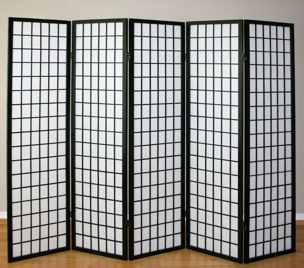 Oriental Shoji Screen - 5 Panel - Black