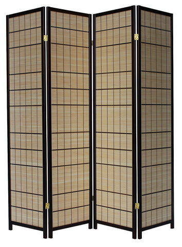 Light Japan Cane Room Divider Screen - 4 Panel