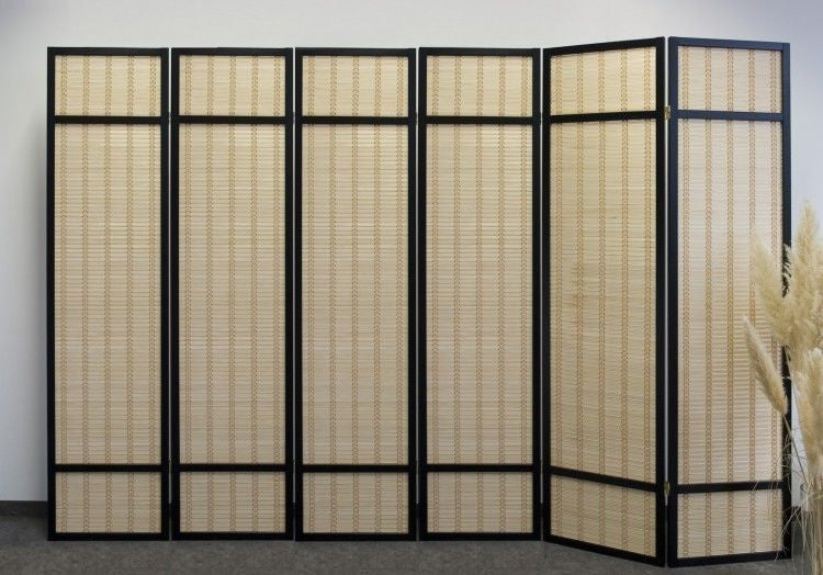 Black Bamboo Shoji Screen - 6 Panel