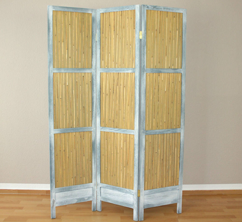 Reed Room Divider Screen - 3 Panel - Grey White Whitewash
