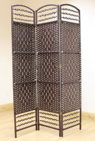 Wicker Room Divider Screen - Brown - 3 Panel