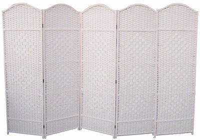 Classical Room Divider Screen - 5 Panel - White